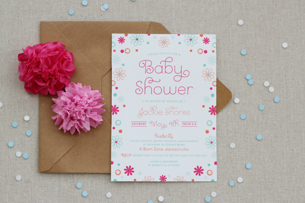 Baby Shower Invitation Dots Flowers Pink Blue