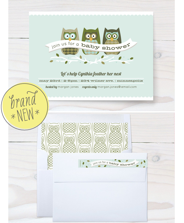 Feathered Nest, Baby Shower, Duncan Park Papers, Owl Shower Invite