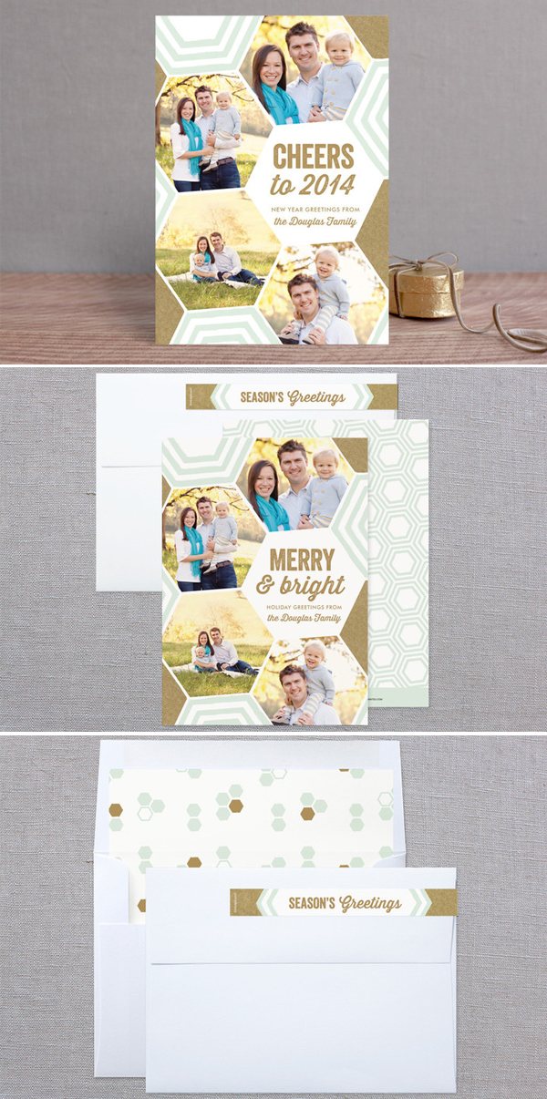 Merry Bright + Geometric Holiday Photo Card by Laura Hankins Duncan Park Papers for Minted