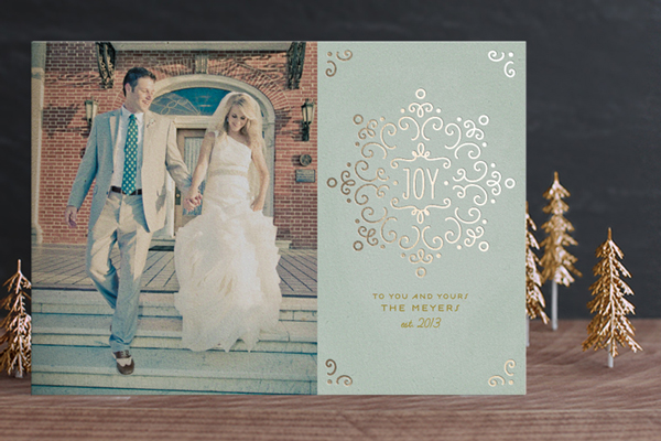 Snow Fancy Gold Foil Pressed Photo Holiday Card by Laura Hankins Duncan Park Papers for Minted