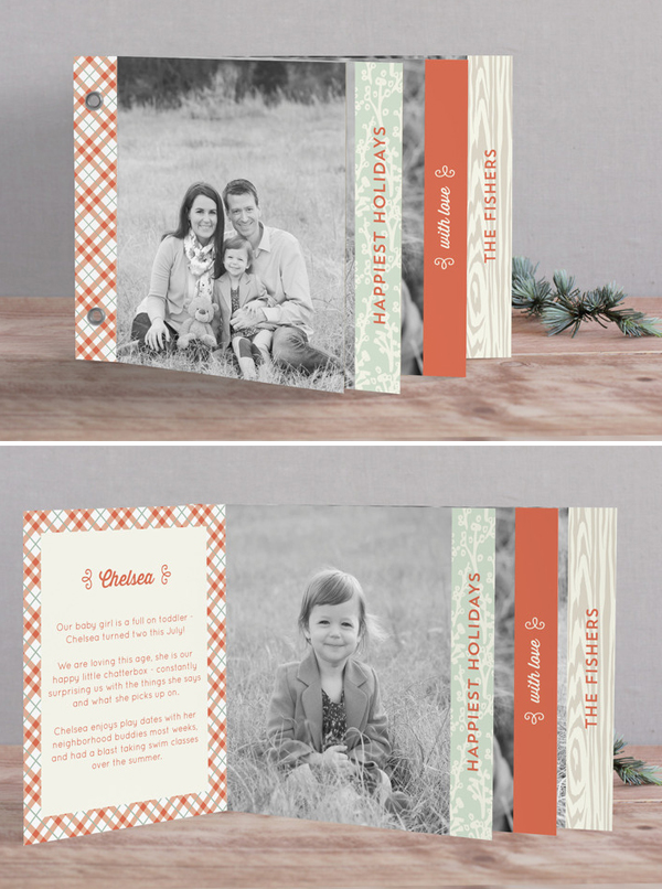 Warm + Cozy Minibook Holiday Photo Card Duncan Park Papers Laura Hankins for Minted